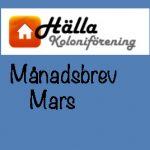 Månadsbrev Mars 2021